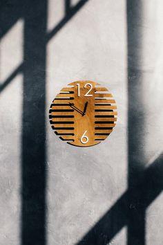 Birch wood home decor, Simple uique minimal wall clock, Geometric maple wall clock, Round digits clo Wood Home Decor, Wooden Decor, Minimalist Scandinavian, Scandinavian Style, Living Room Clocks, Wall Watch, Wood Clocks, House In The Woods, Wall Design
