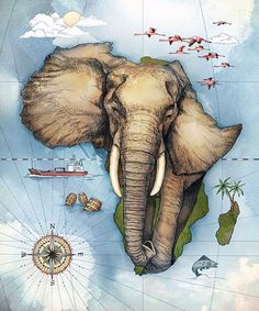 Map of Africa by Studio Muti (South Africa) working together with Jupiter Drawing Room in Johannesburg, to create an illustrated calendar for PPC, the leading supplier of cement in South Africa