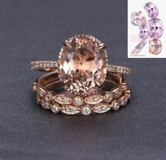 JeenJewels Limited Time Sale 2 carat Morganite and Diamond Trio Ring Set in Rose Gold with One Engagement Ring and 2 Wedding Bands Bling Bling, Rose Gold Engagement Ring, Engagement Ring Settings, Morganite Engagement, Oval Engagement, Wedding Engagement, Gold Gold, Gold Art, White Gold