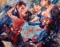 "Daily Painters Abstract Gallery: Original Jazz Art Music Dance Tango Abstract Painting ""Tango Club"" by Texas Artist Debra Hurd"