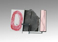 """""""Metamorphic"""" by Ramon Puig Cuyàs, 2016. Nickel silver, basalt, ColorCore, acrylic painting, reconstructed pink choral."""