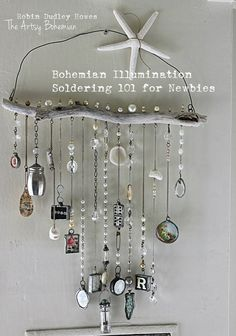decor diy wind chimes Online class Soldering 101 Bohemian Illumination-soldering for newbies Online workshop Brick And Mortar, Carillons Diy, Workshop, Diy Wind Chimes, Glass Vials, Soldering Iron, Wire Baskets, Flyer, Game Pieces