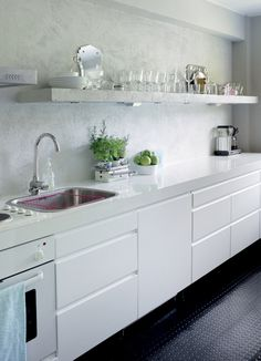 white kitchen - we are thinking of doing handles like that
