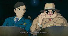 Scena tratta da Porco Rosso Ogni 25 Aprile al fianco di Porco Rosso. Piuttosto che diventare un fascista, meglio essere un maiale....