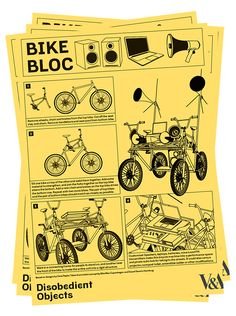 How to Guides - Bike Bloc. llustration by Marwan Kaabour, Barnbrook. Jonathan Barnbrook, Parts Of The Mass, African National Congress, Protest Art, Emergency Preparedness, Survival, Social Change, Victoria And Albert Museum, Book Making