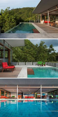 This home in Thailand has a swimming pool located right off the main living…