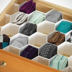 KLOUD City ® 3 Colors Household Plastic Partition Bee Style Underwear Socks Bras Ties Belts Scarves Drawer Divider from Amazon. Saved to Home.