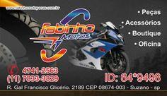 cartão oficina de motos