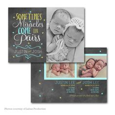 Chalky Twins - Baby Announcement card template available through Jen Boutet Photography with your newborn portrait session in Charlottesville, Va. www.jenboutet.com