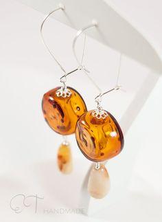 Amber color long dangle earrings  Murano glass by EThandmadeshop