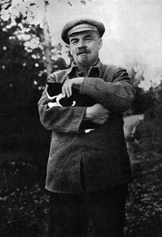 Vladimir Lenin with Cat by Unknown Artist