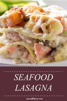 A creamy Italian style Seafood Lasagna filled with a delicious mix of shrimp, scallops, salmon and cod in a creamy béchamel sauce and baked in layers of wide lasagna noodles. Seafood Lasagna Recipes, Seafood Casserole Recipes, Seafood Bake, Seafood Pasta, Seafood Dishes, Pasta Dishes, Veggie Recipes, Fish Recipes, Appetizer Recipes