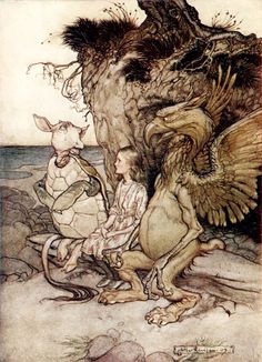 The Queen of Hearts introduces Alice to the Gryphon. Illustration by Arthur Rackham