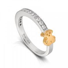 Anillo Tous Puppies en oro blanco y diamantes con el oso Tous en oro amarillo