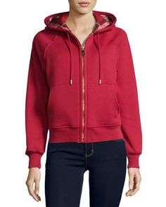BURBERRY CHECK-LINED HOODIE, RED. #burberry #cloth #
