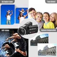 Andoer Portable FHD 1080P Digital Video Camera Camcorder Sales Online black - Tomtop Smartwatch, Apple Technology, Exposure Compensation, Video Camera, Camcorder, Digital, Face, Movie Posters, Smart Watch