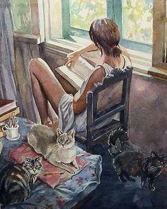 Painting of a girl reading. Reading Art, Woman Reading, Reading Time, Art And Illustration, Girl Illustrations, Crazy Cats, Cat Art, Female Art, Book Art