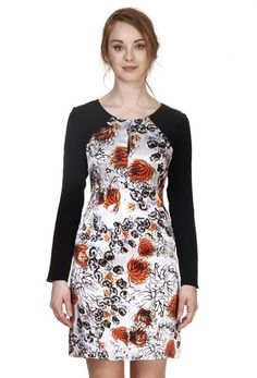 Cindy + Johnny long sleeve Silk Charmeuse and Crepe de Chine dress, with keyhole at front neck. #PrintedDresses #FallPrints