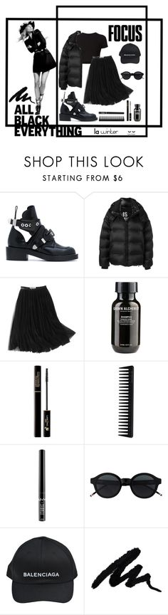 """""""My black therapy. LA winter."""" by lu-uzd ❤ liked on Polyvore featuring Balenciaga, Getting Back To Square One, Faith Connexion, WithChic, Grown Alchemist, Lancôme, GHD, Charlotte Russe, allblackoutfit and leilauzden"""