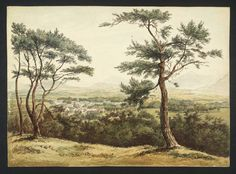 British School 19th century - 'Distant View of a Town in Hilly Country, Two Fir Trees in the Foreground' (date not known). Watercolour and ink on paper. The Tate, London.