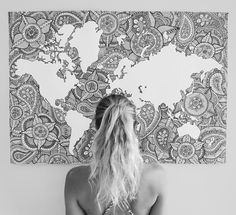 Disean un mapa del mundo a base de mandalas pinterest mandala my world map the perfect addition to any travel lovers home prints are gumiabroncs Images