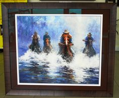 This image has a stunning olive veneer frame to match the colours of the horses and mat board to compliment.