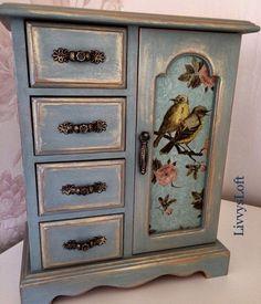 Burgundy beauty Vintage shabby chic jewelry box refurbished upcycled