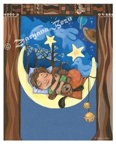 Sweet Dreams Lullaby Art Print 85x 11 by WalkingSnailStudio, $17.50