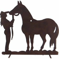 Cowgirl Iron Horse Silhouette -- for the barn or stables