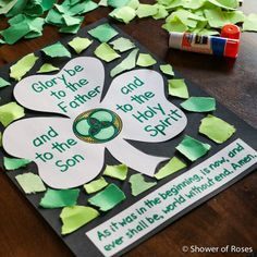 """Shower of Roses: Blessed Trinity Shamrock """"Glory Be"""" Prayer Poster {Catechism Craft with Free Printable!}"""