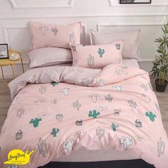 Peaches and cactus polyester duvet cover and sheet set! 3 Pieces include: I duvet, 1 pillow case, and 1 flat sheet 4 Pieces include: 1 duvet, 2 pillow cases, and 1 flat sheet Trendy Bedroom, Girls Bedroom, Bedroom Decor, Bedroom Plants, Cute Bedding, Duvet Bedding Sets, Unique Bedding, Floral Bedding, Modern Bedding