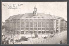 AK Berlin-Kreuzberg, Moritzplatz mit Wertheim, Litfasssäule, Strassenbahn und Automobilen
