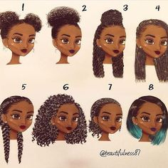 Top 100 easy natural hairstyles photos Beautiful art by @beautifulness87  Did a hair study of some of my favorite hairstyles. I couldn't choose which one I liked the best but which one(s) do you all prefer? #supportblackart #beautifulness87 #blackhair #naturalhairart #illustration #naturalhair #protectivestyles #naturalista #curlygirl #naturalhairstyles #melanin #melaninpoppin...