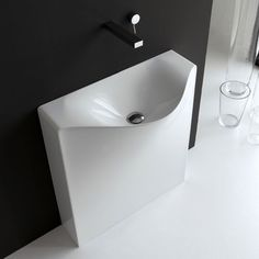 One Shot Back Free Standing Washbasin - Pairs well with floor-standing, wall-hung, and deck-mounted faucets to complete any modern bath space.