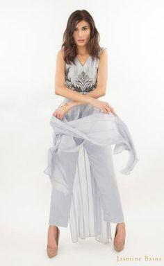 34b4950f53a139 Powder grey silk georgette panelled gown Silk Organza