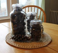 Pinecones in Mason Jars for Thanksgiving via ©creativekristi.com