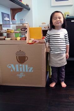 Absolutely amazing cardboard coffee shop made for this cutie.  I'm awestruck. This mom is killing it! by 45wall design