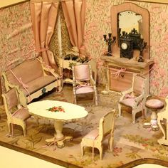 Outstanding French Miniature Furnished Room with Original Furnishings from belle-epoque-dolls on Ruby Lane