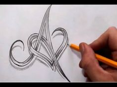 ▶ Initial A and Heart Combined Together - Celtic Weave Style - Letter Tattoo Design - YouTube