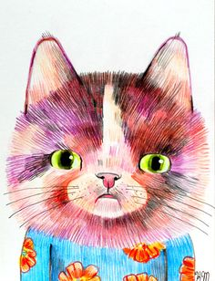 Cat Portrait (original illustration on paper)
