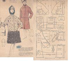 Barbie Patterns, Coat Patterns, Vintage Sewing Patterns, Clothing Patterns, Retro Pattern, Pattern Design, Patron Vintage, Sewing Coat, Pattern Drafting