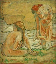 "artist-marc: ""Two bathing girls, Franz Marc Medium: tempera on cardboard"" Franz Marc, Wassily Kandinsky, Renoir, Chaim Soutine, Blue Rider, Bath Girls, Museum, Art Database, French Art"
