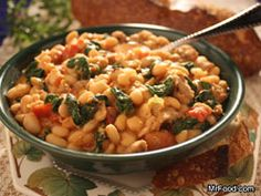 Chock-full of mood-boosting, healthy ingredients, this hearty, flavorful Tuscan One Pot Italian-style stew is sure to brighten dinnertime. Savor every last drop of this easy one-pot meal with some crusty whole grain bread. Hotdish Recipes, Soup Recipes, Recipies, Entree Recipes, Dinner Recipes, Italian Stew, Italian Dishes, Cooking Recipes, Healthy Recipes