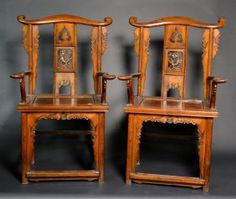 """Pair of Chinese Carved Wood Chairs. Size : 43"""" x 25"""" x 20"""""""