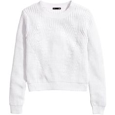 H&M Knitted jumper ($11) ❤ liked on Polyvore featuring tops, sweaters, h&m, white, white jumper, white sweater, white top and h&m tops