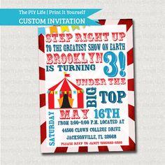 SALE Birthday Invitation | Tumble and Fly Under The Big Top Circus Birthday Invitation Printable DIY No. I53