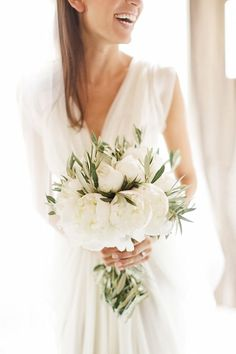 white peony and olive branch bouquet by Blandine Viry