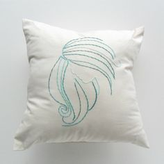Throw Pillow Cover Sea Foam Green Shades on Oatmeal Rowena Design ( hand embroidered, 14 x 14 inches, aphrodite, white, aran, natural). $20.00, via Etsy.