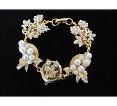 Real vintage gold pearl wedding bracelet