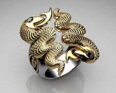 Unique Mens Ring Snake Ring Sterling Silver and Gold with Black Diamonds By Proclamation Jewelry   Flickr - Photo Sharing!